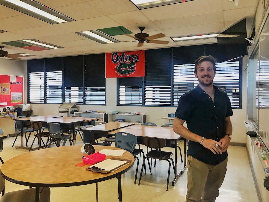 Nicolas Vander Meer in his classroom.